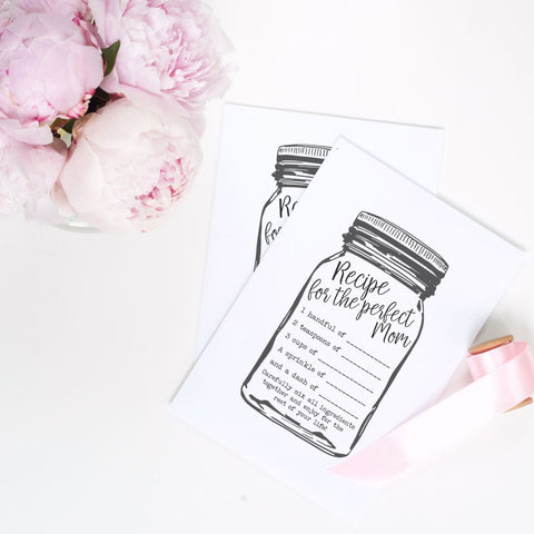 Recipe for the perfect mom Free Printable on a white table with pink peonies and pink ribbon