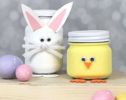Bunny and Chick Easter Mason Jars from Creative Ramblings Blog