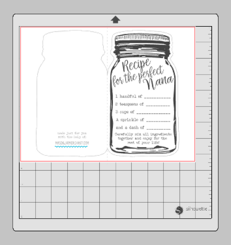 "screenshot of our Free Printable ""Recipe for the Perfect Mom' using Silhouette software."