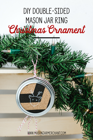 diy double-sided mason jar ring Christmas ornament made with chevron cork and a reindeer stamped image