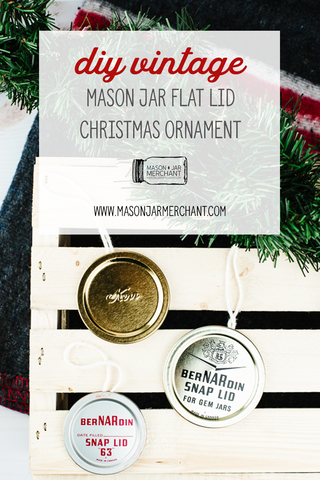 handmade Christmas ornaments made from Kerr and Bernardin mason jar flat lids