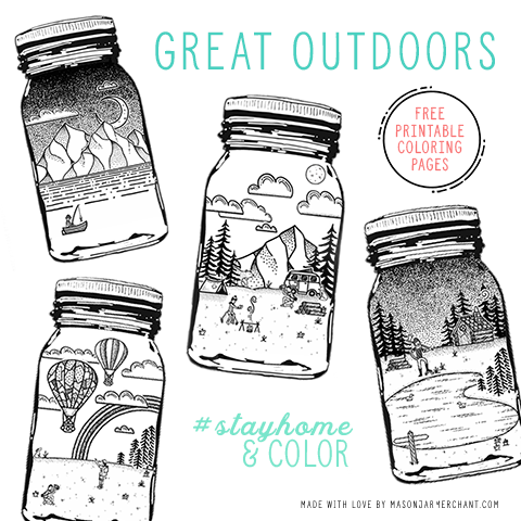 free printable coloring pages featuring four whimsical outdoor scenes