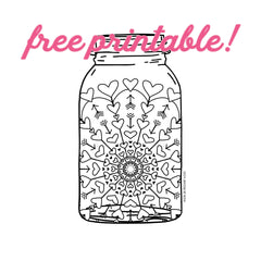 free printable valentine coloring page featuring mason jar with heart mandala