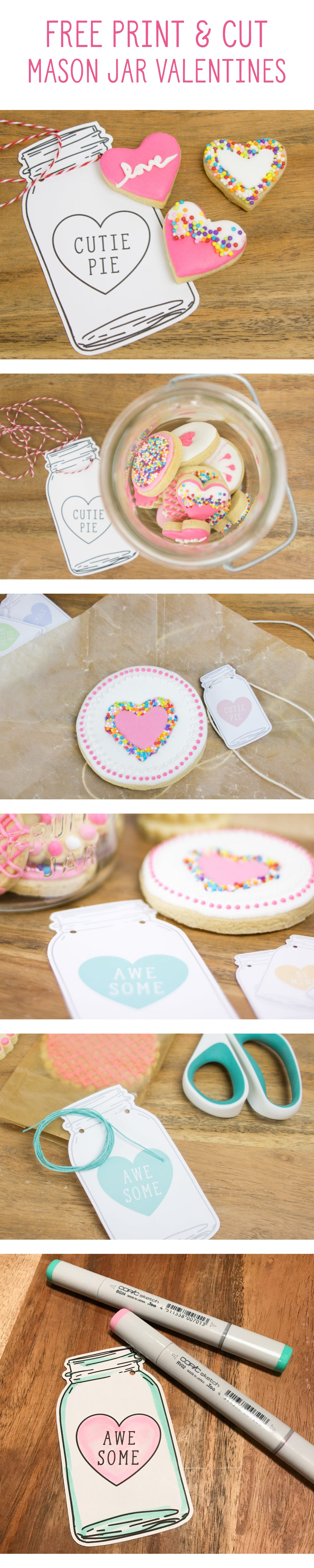 FREE printable pastel colored candy heart mason jar shaped valentines download color and cut and use as gift tags