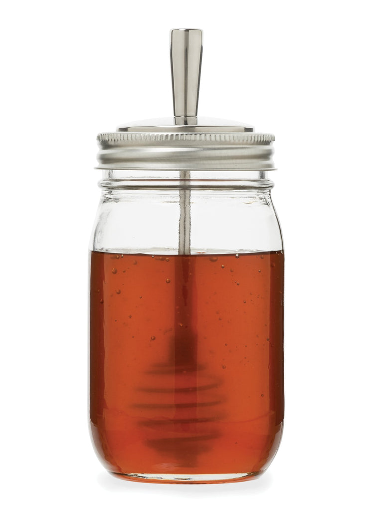 Jarware Stainless Steel Mason Jar Honey Dipper Attachment Shown on a Regular mouth pint with honey on a white background.