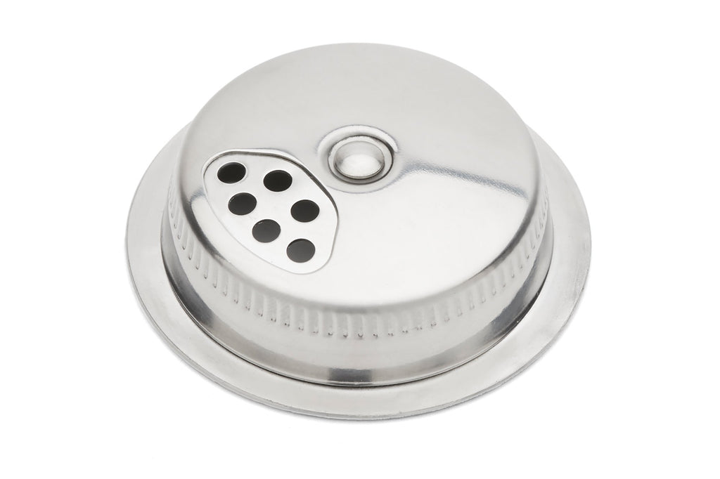 Jarware Stainless Steel Mason Jar Shaker Lid Shown by itself on a white background.