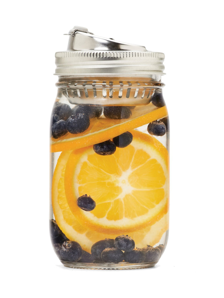 'Jarware' - Stainless Steel Fruit Infusion Mason Jar Drink Lid