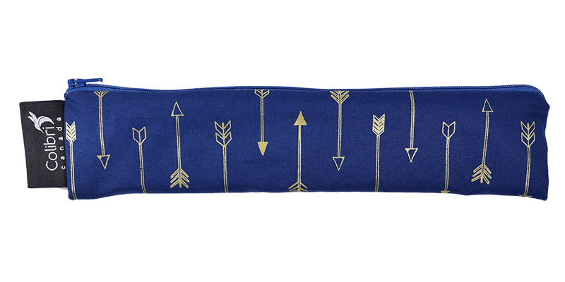 11 inch blue reusable straw bag with gold arrows