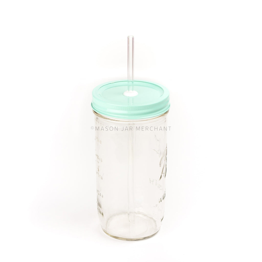 24 oz wide mouth mason jar with glass straw and beachgrass coloured painted mason jar lid