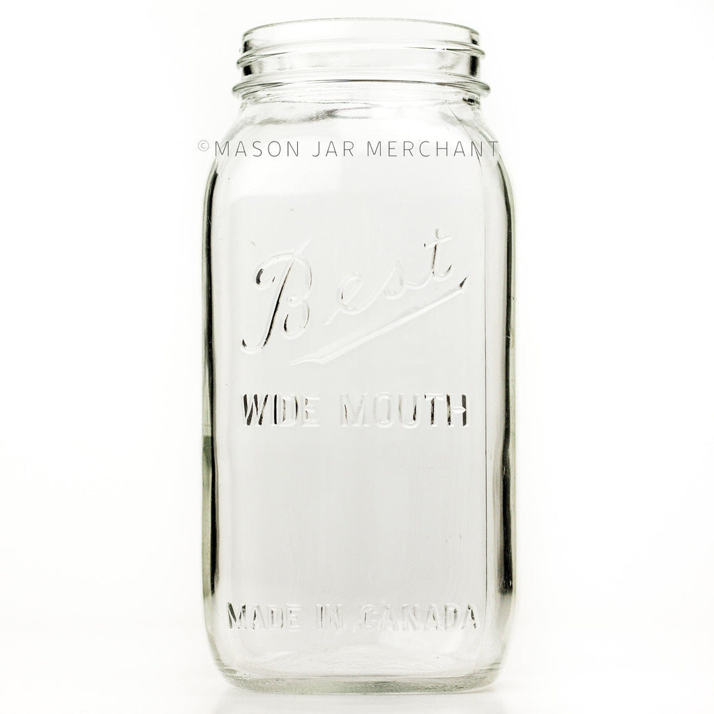 Wide mouth half-gallon mason jar with Best Wide Mouth logo , against a white background