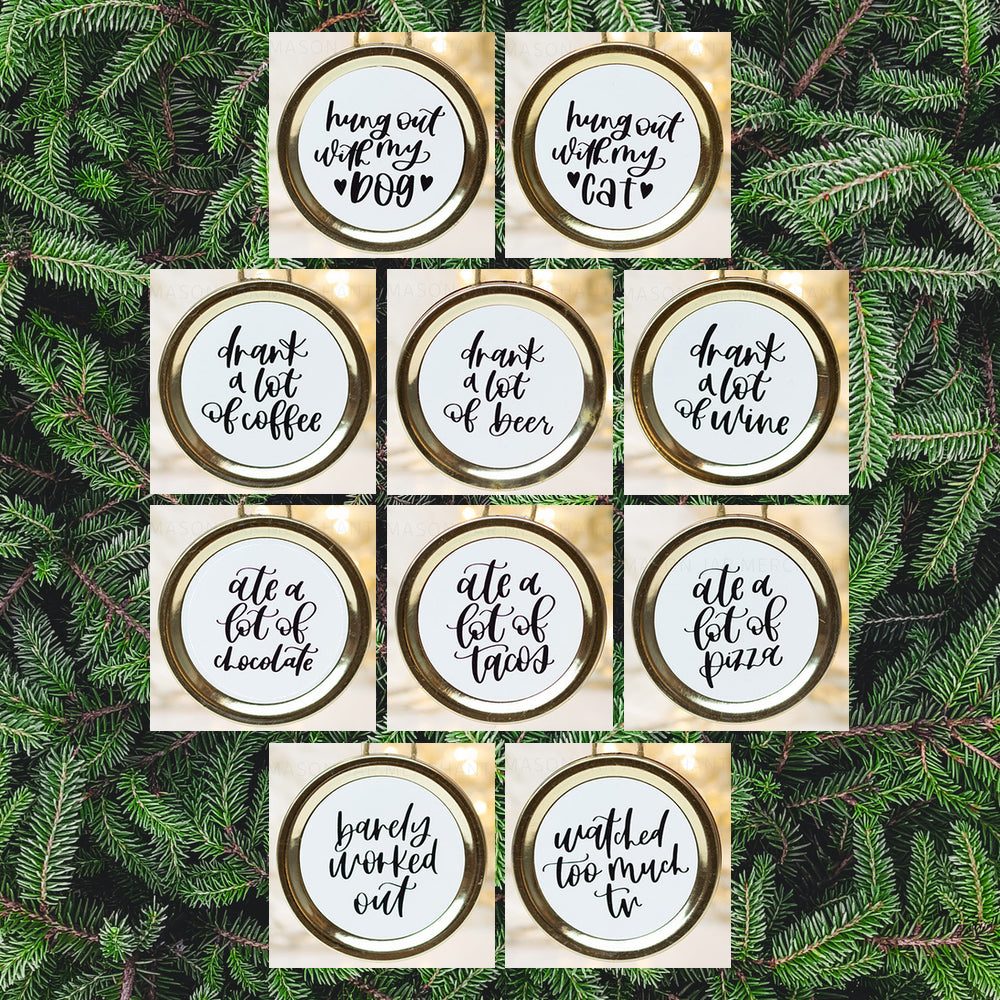 Set of 10 mason jar lid Christmas ornaments with amusing Christmas goals written in black script on a white background