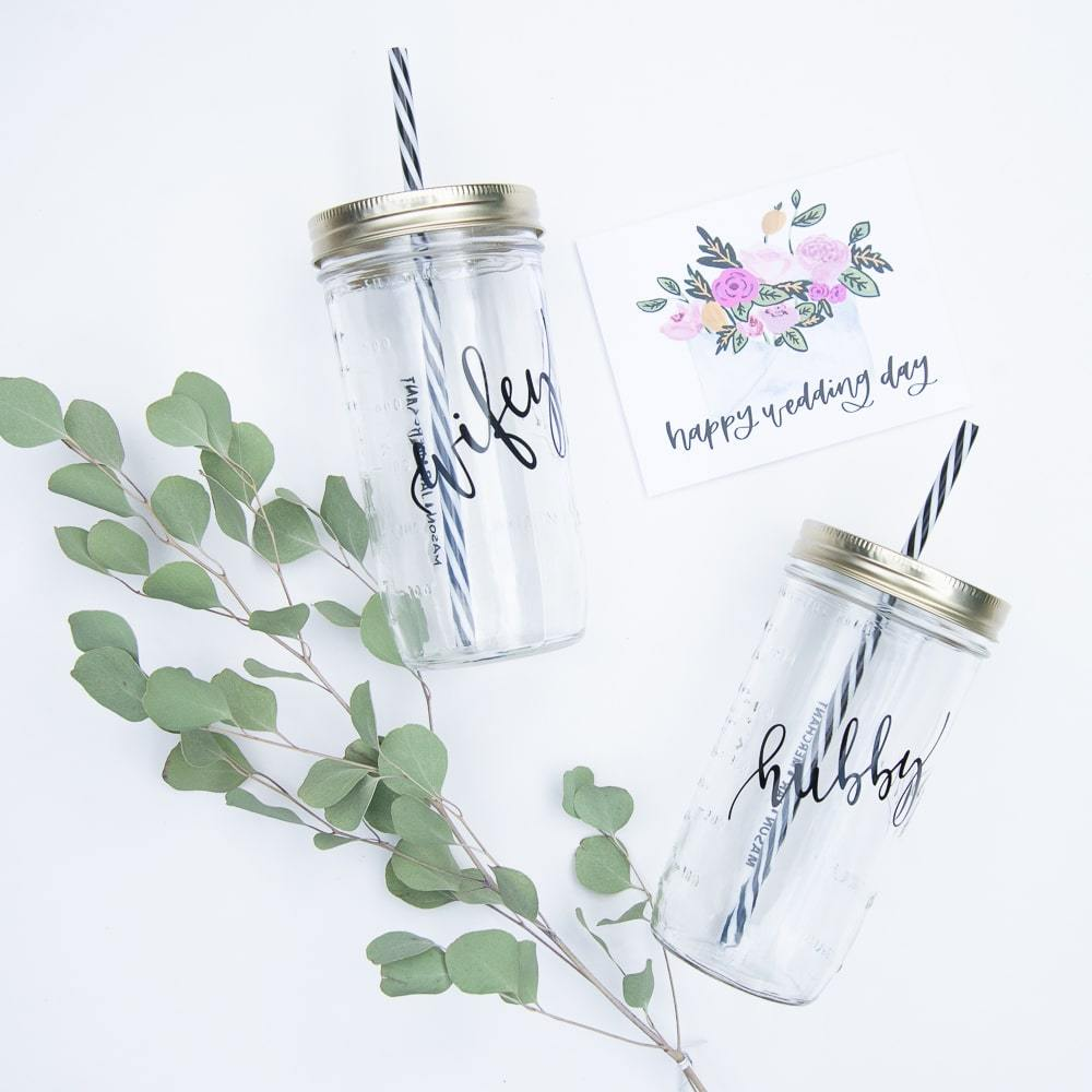 set of wifey and hubby reusable mason jar tumblers