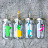 set of four reusable water bottles with straws with bright colorful summer designs