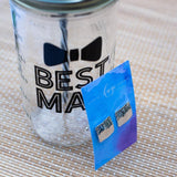best man reusable water bottle and a pair of silver cufflinks
