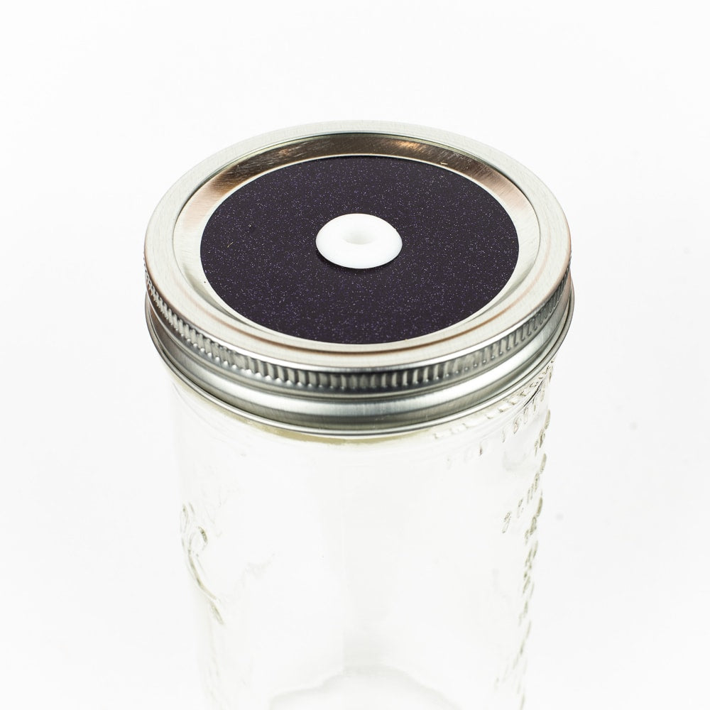 Glitter Mason Jar Straw Lid - Dark Purple Glitter