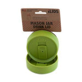 Lime green reusable drink lid for a mason jar against a white background