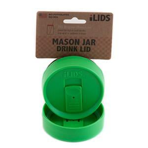 Grass green reusable drink lid for a mason jar against a white background