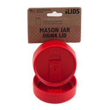 Red reusable drink lid for a mason jar against a white background