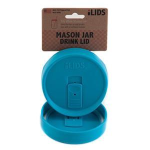 Aqua coloured reusable drink lid for a mason jar against a white background
