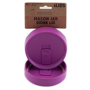 Mulberry coloured reusable drink lid for a mason jar against a white background