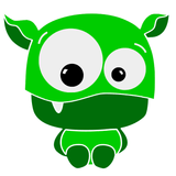 bright green little monster graphic