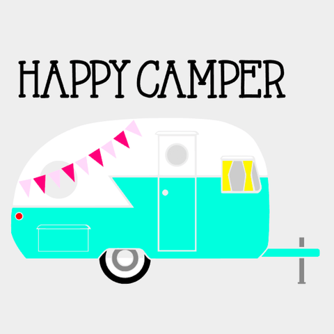 'Happy Camper' Drinking Jar - Deep Sky Blue