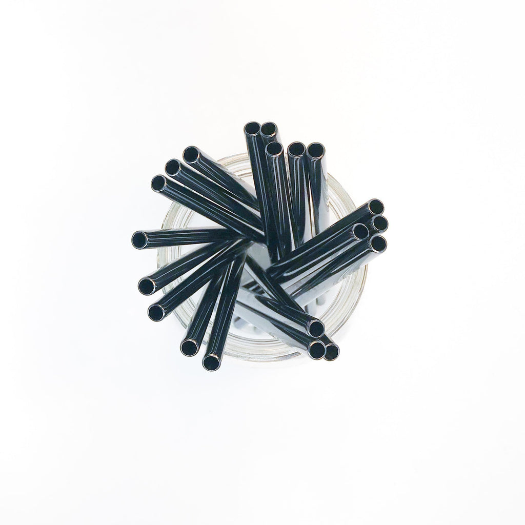 6.25 inch short straight black stainless steel reusable straw