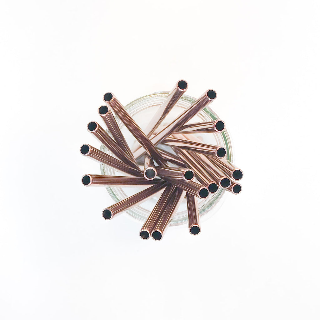 6.25 inch short straight rose gold stainless steel reusable straw