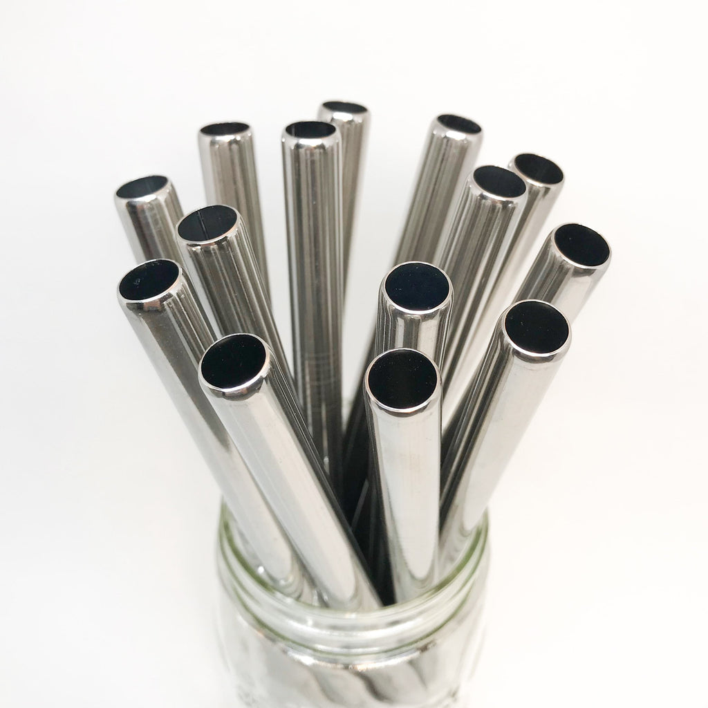 dishwasher safe and toxin free 8.5 inch silver stainless steel reusable bubble tea straws