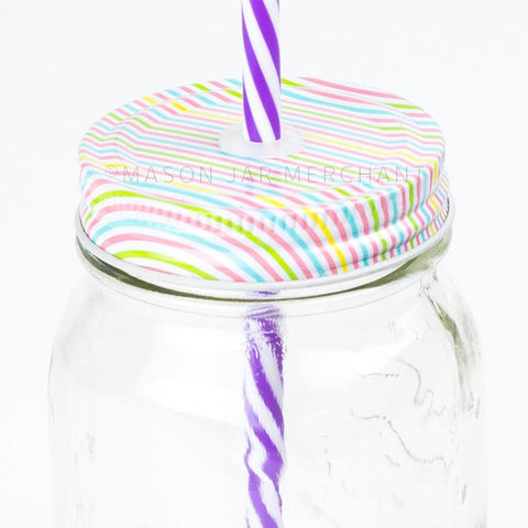 Blue & White Stripe Reusable Plastic Straws