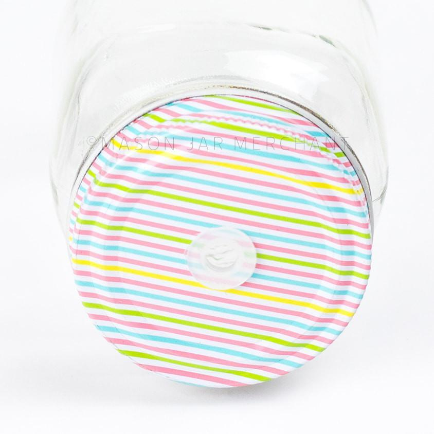 'Lollipop' Pastel Stripe Straw Lid