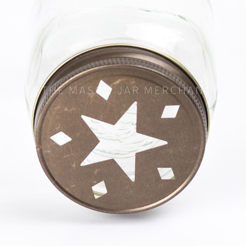Rustic 'Star & Diamonds' Jar Cutout Lid / Candle Topper