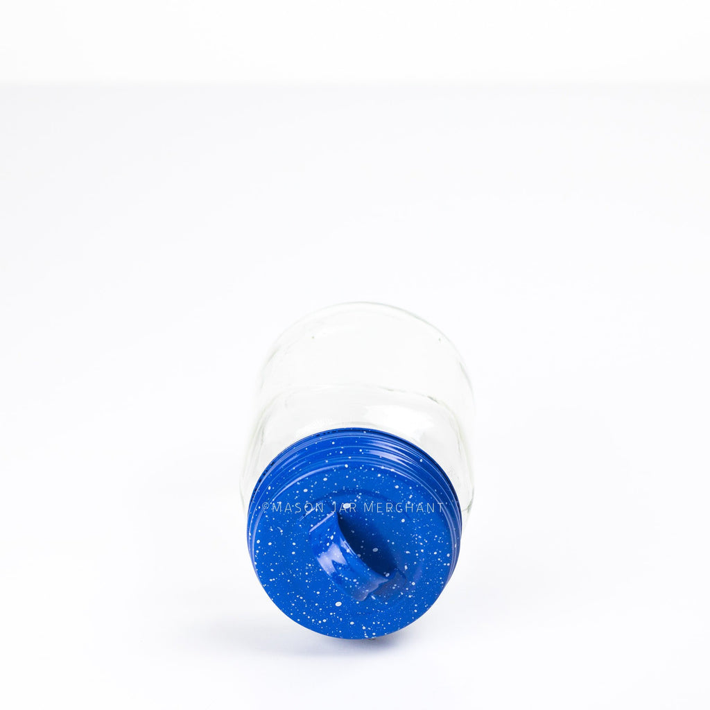 Blue Speckled Enamel Lid With Handle