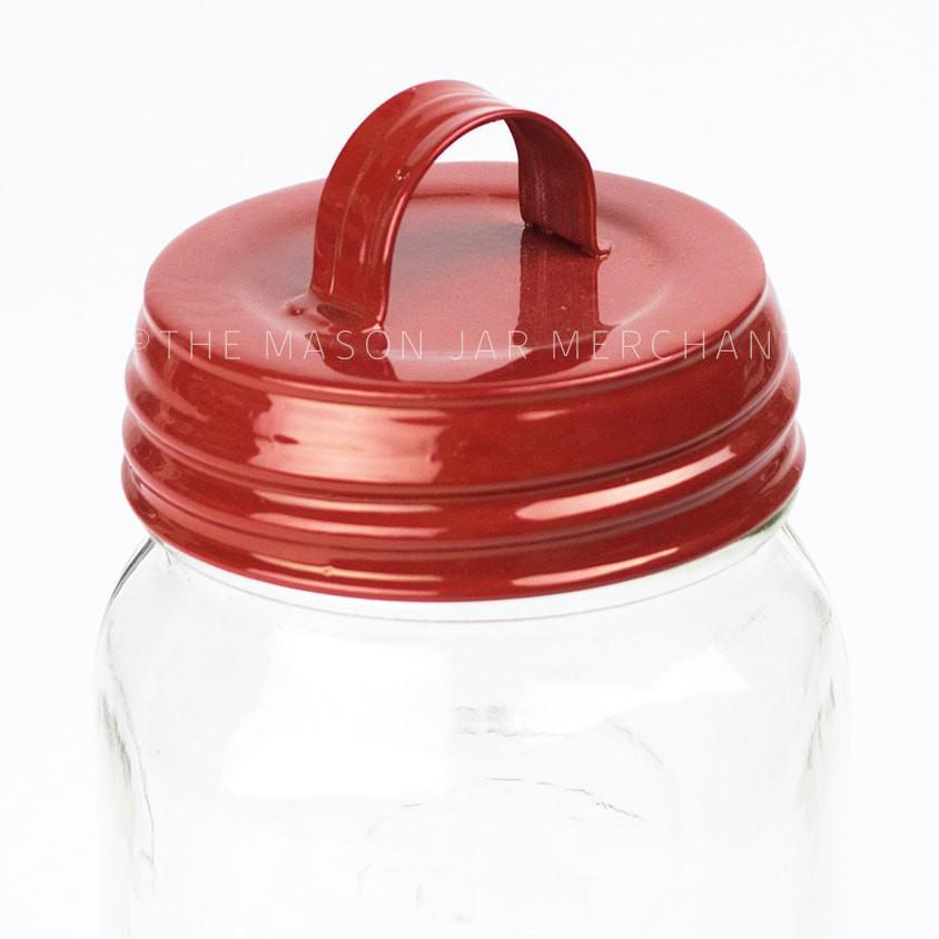 Red Enamel Lid With Handle
