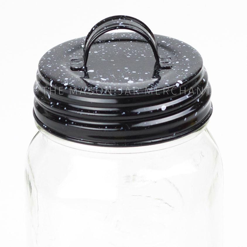Black Speckled Enamel Lid With Handle