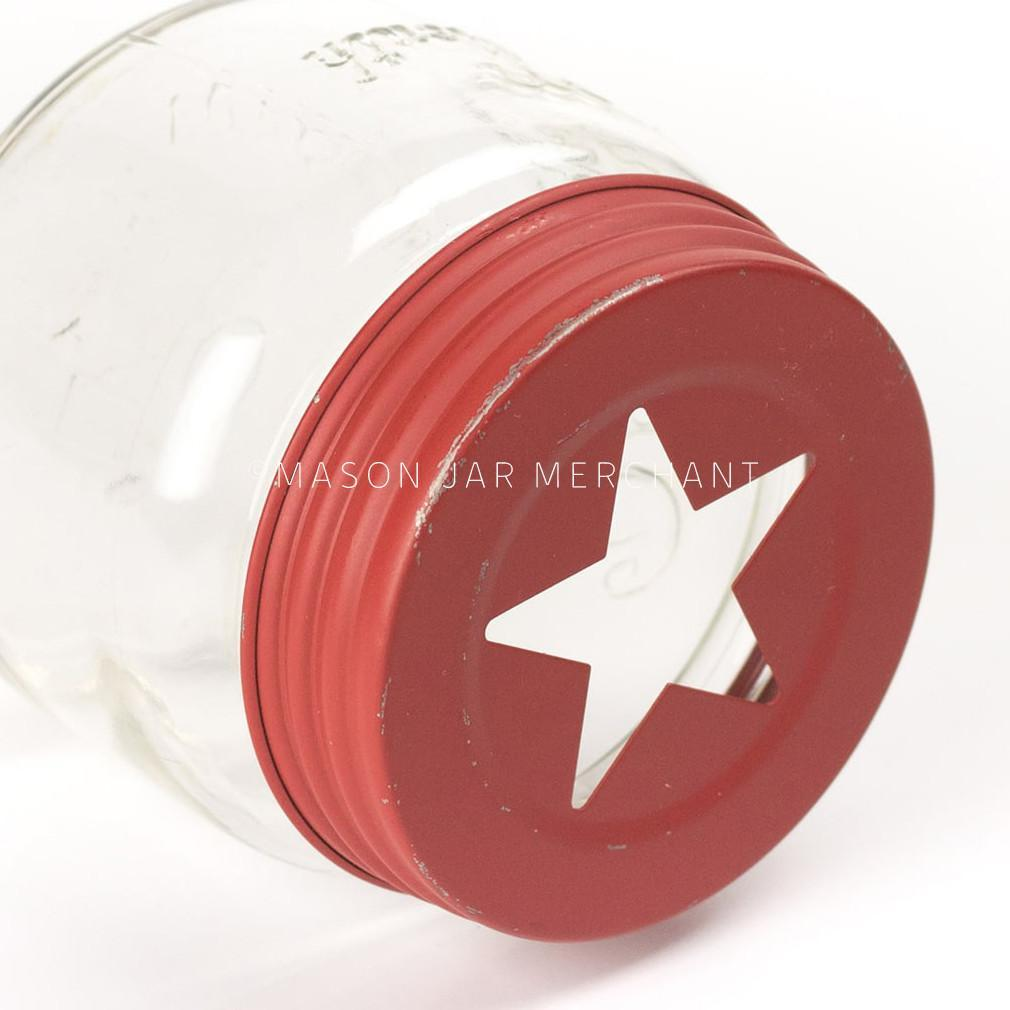 Rustic Red Star Cutout Lid / Candle Topper