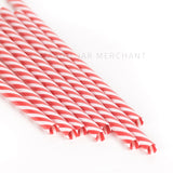 Red and white striped BPA-free reusable plastic straws against a white background