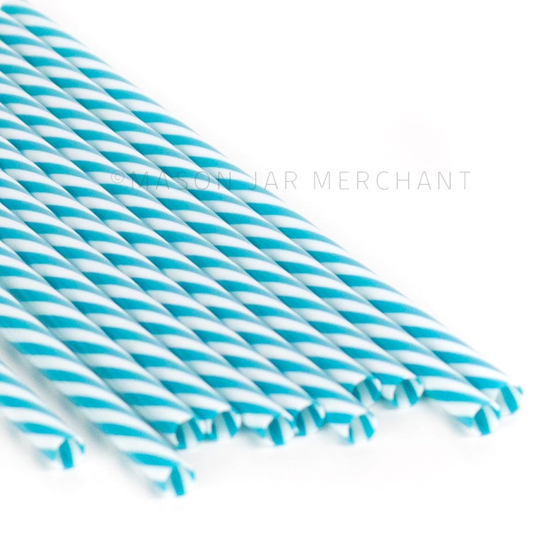Dark teal and white striped BPA-free reusable plastic straws against a white background