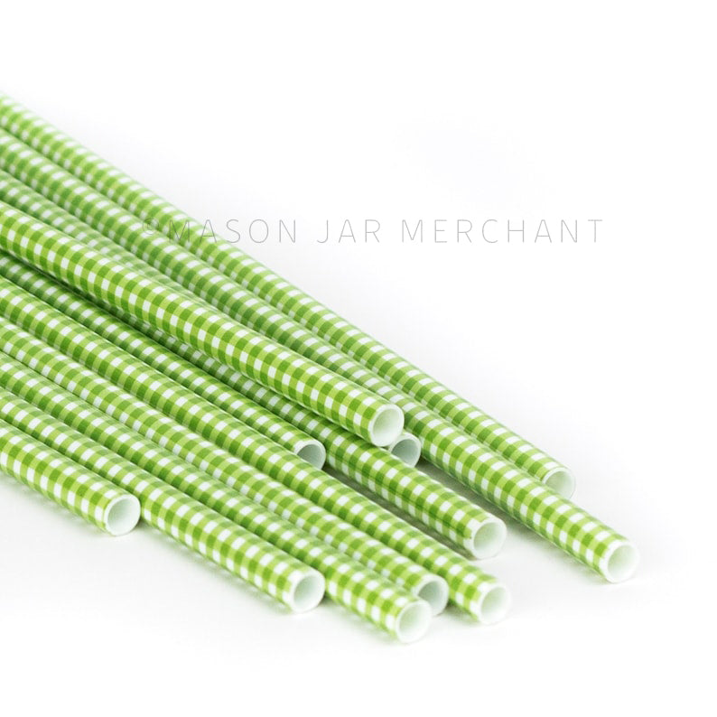 Green and white gingham patterned BPA-free reusable plastic straws against a white background