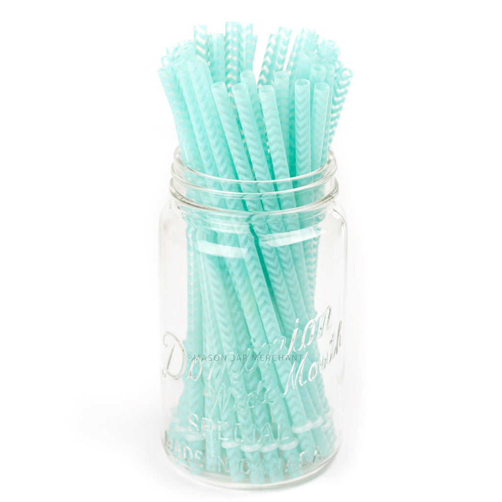 Aqua Chevron Reusable Plastic Straws