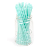 Aqua chevron patterned BPA-free reusable plastic straws in a mason jar, against a white background