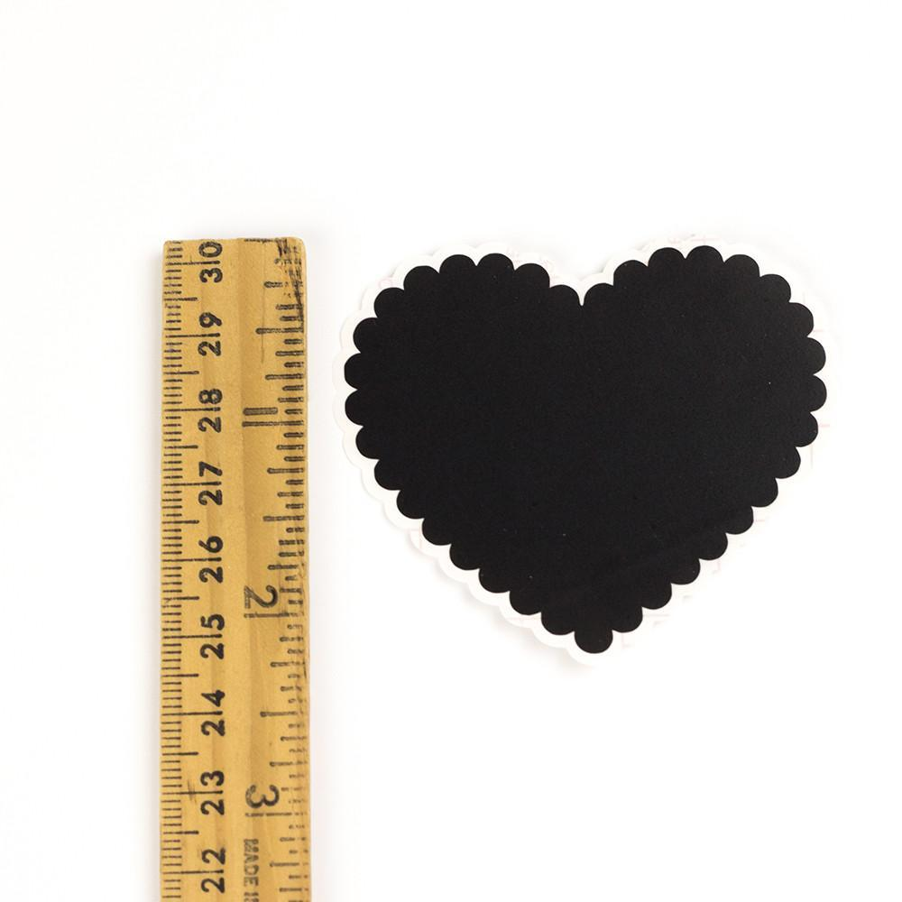 Scalloped Heart Chalkboard Labels - 2.5 inches