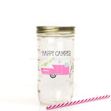 'Happy Camper' Drinking Jar - Bubblegum