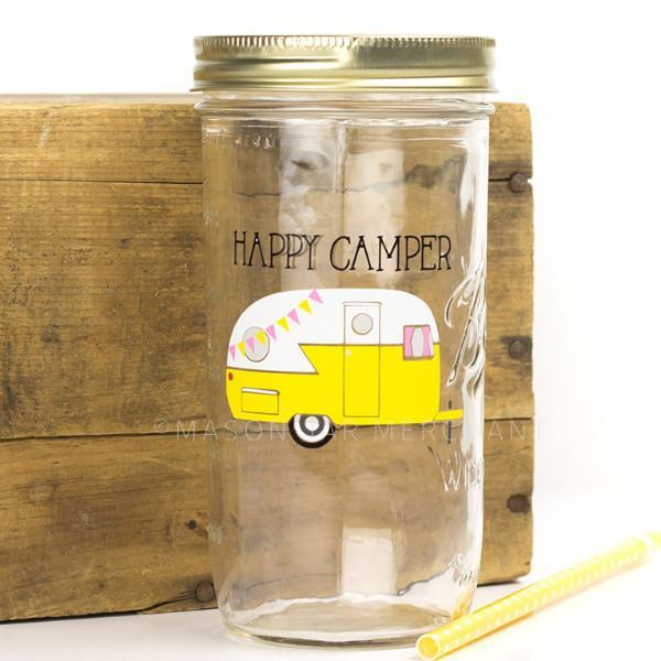 'Happy Camper' Drinking Jar - Canary