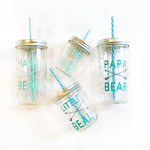 Botanical Quartet Line Art Mason Jar Tumblers - 'Stem'