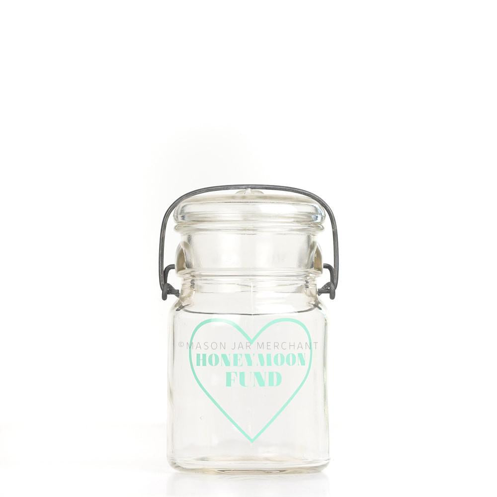 'Honeymoon Fund' (Heart Outline) Savings Jar