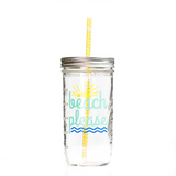 'Beach Please' (Waves) Drinking Jar