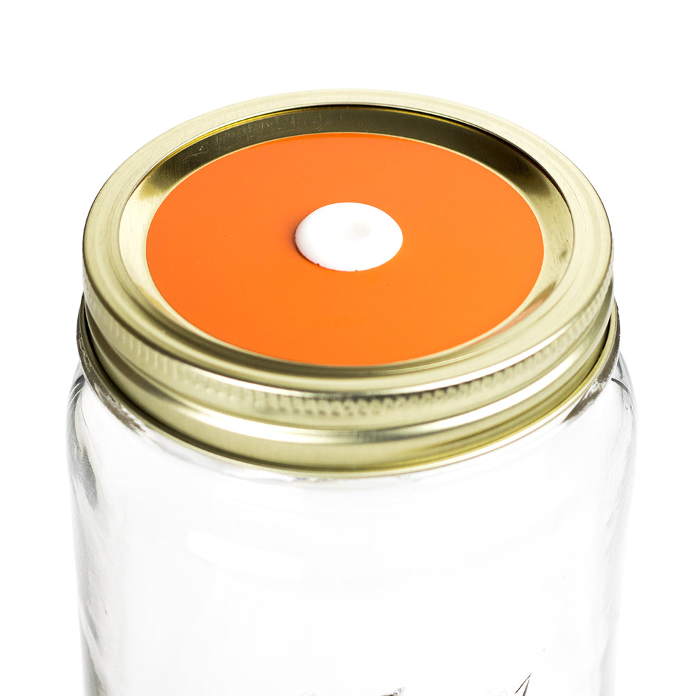 Color Top Mason Jar Straw Lid - Tangerine