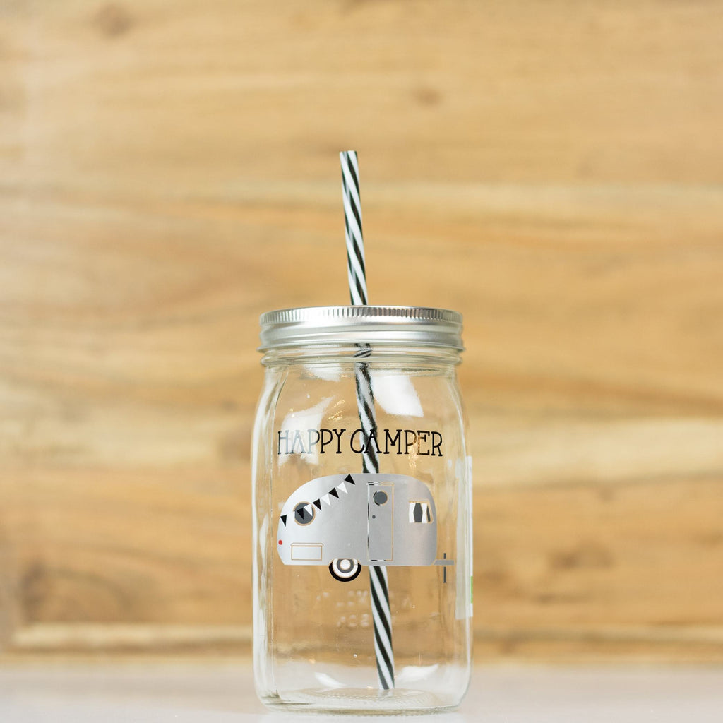 'Happy Camper' Drinking Jar - Silver
