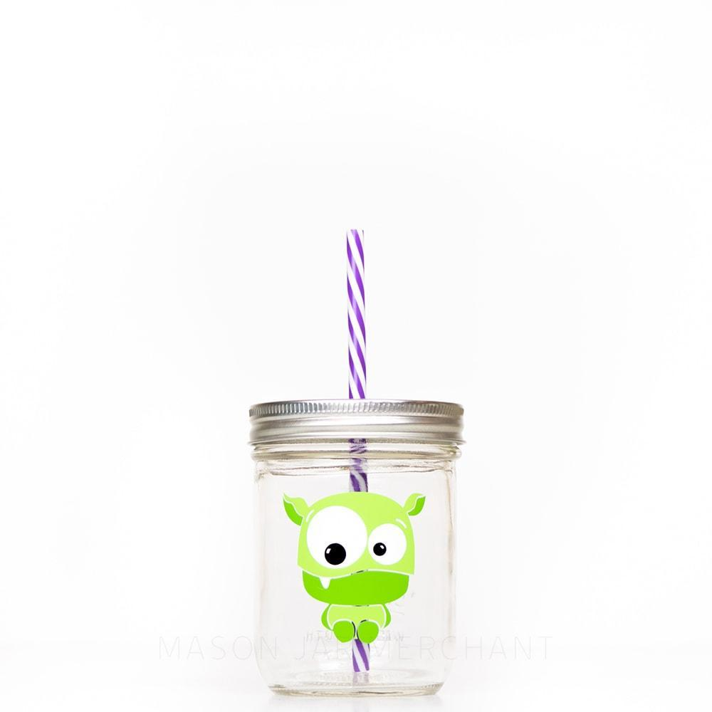 16 oz wide mouth reusable glass mason jar tumbler with straw lid and reusable straw